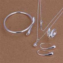 Fashion Wedding Bridal Jewelry Set 925 Stamped Silver Water Drop Bracelets + Necklace + Rings + Earrings Sets for Women S222(China)