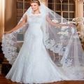 Exquisita O-cuello Desmontable vestidos de novia de Encaje Vestido de Novia 2015 de Tren Capilla casamentorobe de mariee