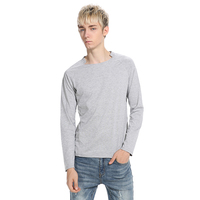 2018 Spring Men's Long sleeved Tshirt Solid color Square neck long sleeved T shirt top Men Casual Fashion Clothing Tops