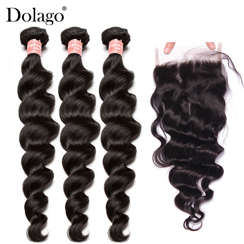 Brazilian Virgin Loose Wave Bundles With Closure 3 Human Hair Weave Bundles With Lace Closure Dolago Hair Products Extension