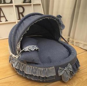 Роскошная кровать принцессы для домашних животных, кружевная Колыбель для питомника, кровать для собак, съемная губчатое кольцо высокой пл...