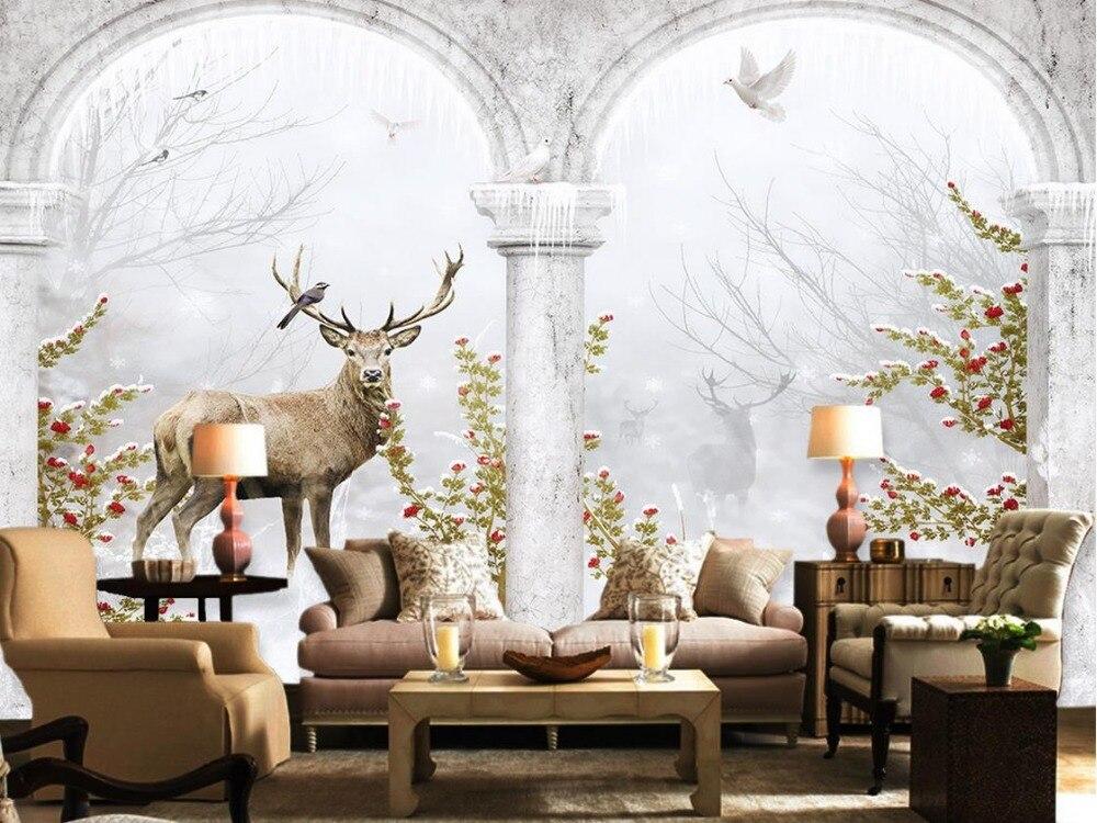 US $10.5 65% OFF|Benutzerdefinierte 3d tapete Europäischen stil sikawild  Hintergrund wand wohnzimmer moderne tapete badezimmer 3d wallpaper-in  Tapeten ...