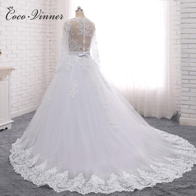 Pearls Beads 2 in 1 Brazil Wedding Dress Vestido De Novia Lace Appliques Detachable Train A line Wedding Dresses W0278