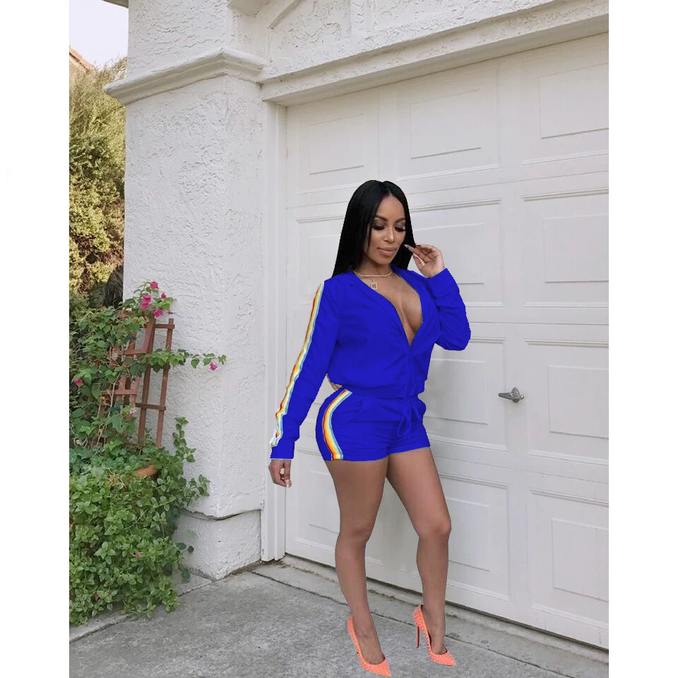 Women Two Piece Set Turn Down Collar Jacket Tops and Shorts Set Side Striped Leisure Sweat Suits Autumn Casual Tracksuit