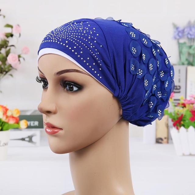 New Design Islamic Scarves Wraps Hijab caps Womens Muslim Inclusive Cap Crystal Flower Muslims Hat hijab undercaps black