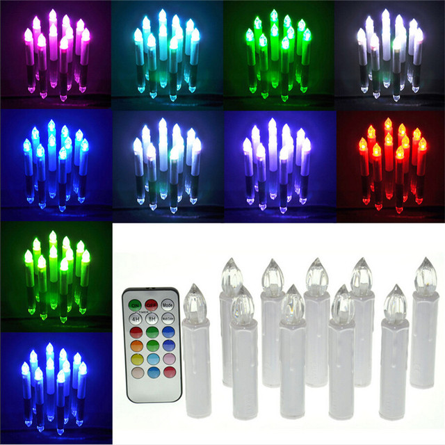 10pcs/set remote control electric candle light 12 color change flicking tea light candles for Home Festival Wedding Party