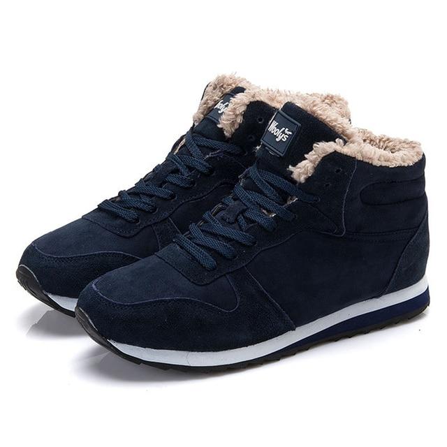 Quanzixuan גברים לגפר נעלי שחור כחול חורף שטוח קטיפה חמים נוח גברים סניקרס 2018 זמש שרוכים זכר הנעלה