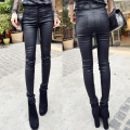 All-match coating leather pants autumn velvet thickening female high waist skinny legging pants long trousers