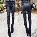 Revestimento de couro de todos os jogos calças de veludo outono espessamento feminino cintura alta calças legging magras calças compridas