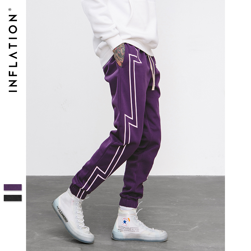 INFLATION 2018 FW pantalla banda imprimir Sweatpants Streetwear hombres cintura elástica pista pantalones fuerza pantalones Jogger 8836 W