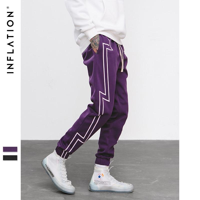 A INFLAÇÃO 2018 FW Tela Da Listra Imprimir Streetwear Sweatpants Jogger Calças Cintura Elástica dos homens Faixa Calças de Força 8836 W
