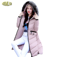 Новые зимние Для женщин модная куртка с капюшоном Мех животных Ошейники удобный пальто хлопка большой размер сплошной цвет Тонкий Женский Верхняя одежда WKM109