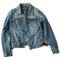 New Vintage Rivet Denim Jacket brand Women Ladies Jeans Coat Punk High Quality Free Shipping