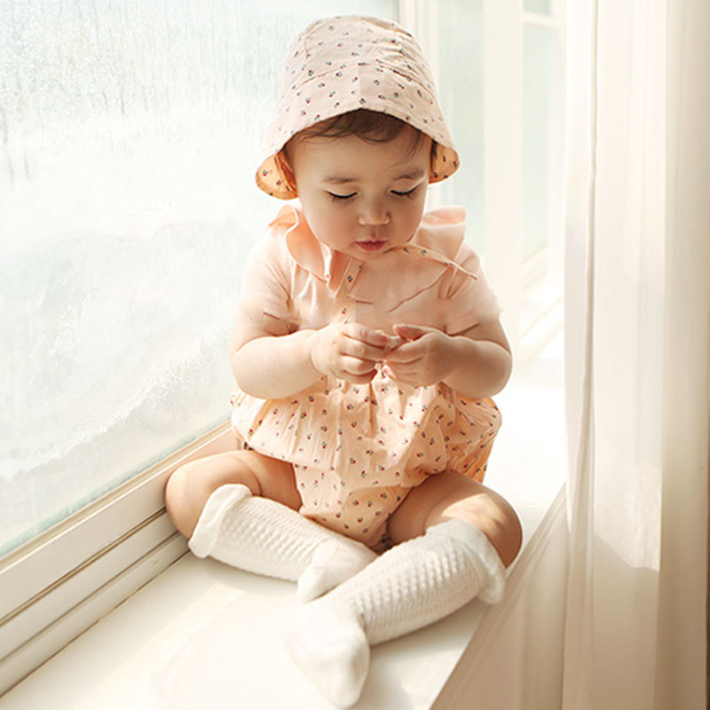 2019 Fashion Baby Cute Cherry Printing Rompers + Hat Summer Baby Girl Clothes Short Sleeves Newborn Baby Girl Clothing Rompers