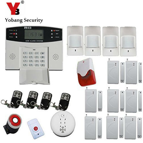 YobangSecurity English Russian Spanish French Voice 7 Wired 99 Wireless Zones GSM Home Security Alarm Systems with Strobe Siren quad band wireless wired gsm home security alarm systems wired siren kit sim sms alarm spanish russian english vioce prompt