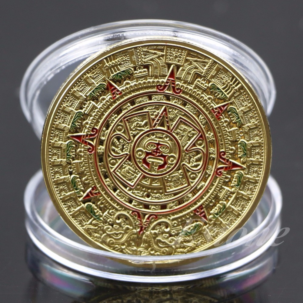 Coin Gold Silverpläterad Mayan Aztec Prophecy Kalender Minnes Mynt Art Collection