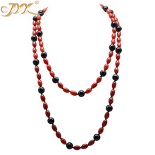 Fashion Long 8.5*12mm Red Brown Irregular Agate and 12mm Round Faceted Black Necklace 54