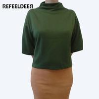 Refeeldeer Batwing Sleeve Summer T Shirt Women 2017 Newest Semi High Collar T Shirt Female Wine