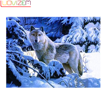 DIY diamond painting diamonds full of snow Wolf embroidery 5D rubiks drill mountain wolves a gift.