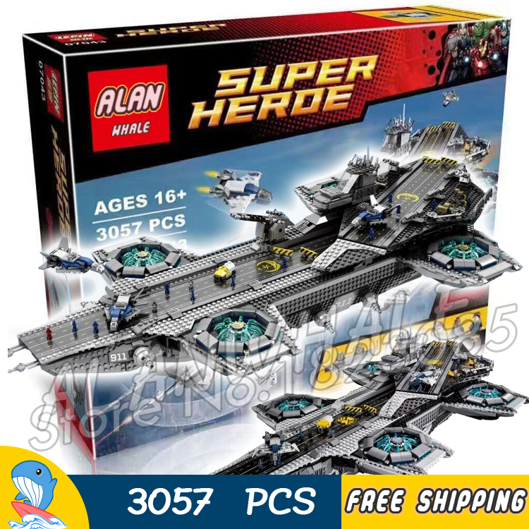3057pcs Super heroes Avengers The SHIELD Helicarrier Aircraft Carrier 07043 Model Building Blocks Toy Brick Compatible with Lego building blocks super heroes back to the future doc brown and marty mcfly with skateboard wolverine toys for children gift kf197