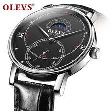 a88c624d2f4 OLEVS Homens Moda Relógios de Quartzo Pulseira De Couro de Negócios Sub  Ddial Relógio Masculino de