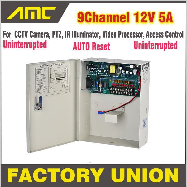 High Quality CE FCC Certification 9 Channel Uninterrupted 12V 5A PTZ Access Control for 9CH DVR CCTV Camera Power Supply