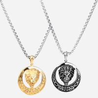 Vintage Jewelry 18K Gold Silver Plated Titanium Steel Lion Head Pendant Necklace Totem Print Lion Chain