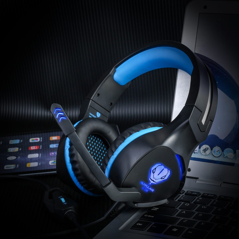 SL-100 Gaming Headphone Headset Earphone Headband with Microphone LED Light for Laptop Tablet Mobile/PS4/XBOX/PC K5