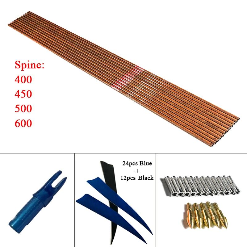 12pcs/lot Archery Carbon Arrow Shafts W/wood Skin Spine 600 with 4inch Turkey Feather Nock Tip Complete Bow Hunting DIY w w archery sfokit26