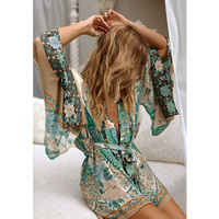 Boho Summer Beach Vintage Bird Floral Print Sashes Kimono Women 2018 New Fashion Cardigan Ladies Blouses Casual Blusas Mujer