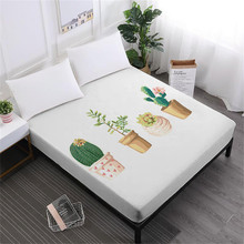 Cartoon Cactus Bed Sheet Green Plant Print Fitted Sheets Letter Print Sheet Funny Mattress Cover Polyester Bedclothes D40