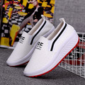 Breathable PU Casual Dot Shoes 2016 White Color Wedge Heavy Bottom Platform Swing Shoes Loss Weight Slip On