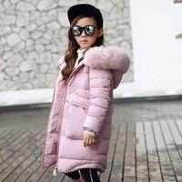 2017 New Children Winter Jackets Girls Winter Coats Kids Girls Warm Thick Fur Collar Hooded Long