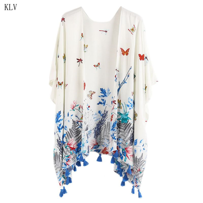 Bright Women Outdoor Cotton Beach Swimsuit Cover Up Boho Vintage Colored Flowering Shrubs Butterfly Printed Kimono Cardigan Tassels Tri