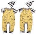 Recién nacido Infantil Del Bebé Muchacho Muchacha Casa Mameluco Del Mono + Hat 2 unids Ropa Bebes Outfit Playsuit Mamelucos de Algodón de Manga Corta