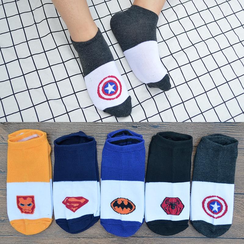 5 Pair/set Cartoon Superhero Spider Man/Iron Man/Batman/Superman/Captain America Men