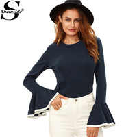 Sheinside Womens Long Sleeve Tops Korean Fashion Winter Tops for Women Navy Contrast Binding Flare Sleeve T-shirt