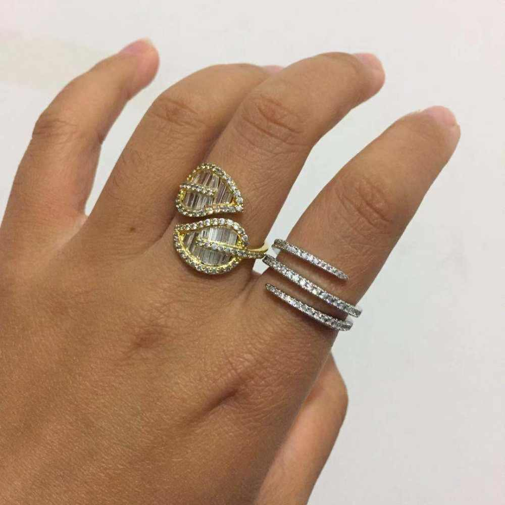 Trendy 3 Layer Cz Pave Setting Simple Fashion Rings For Women Party Gift Wedding Band Accessories Luxury Women Jewelry