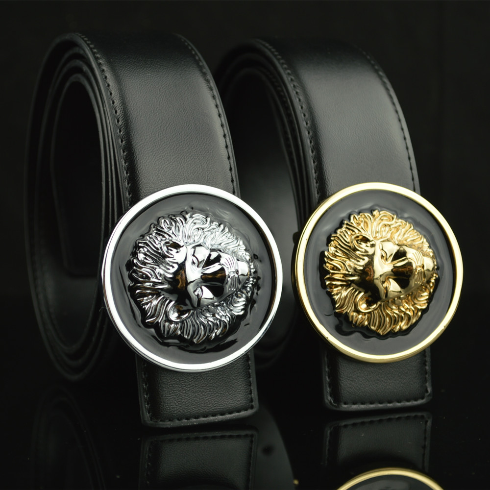 2017 New Split Leather Designer Belts Men High Quality Lion Metal Golden Silver Buckle Luxury Black Casual Belt Cinturones