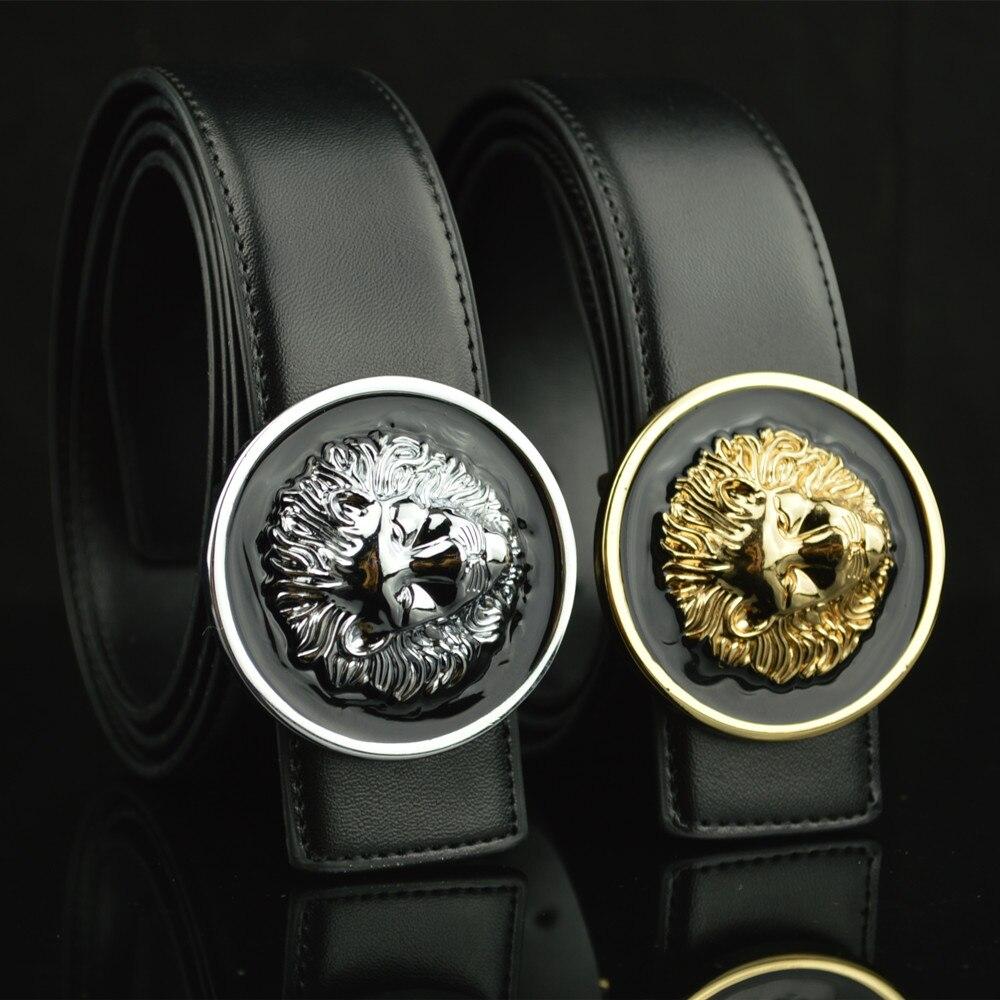 2017 nueva split cuero diseñador cinturones hombres de alta calidad León metal plata de oro negro de lujo casual cinturones