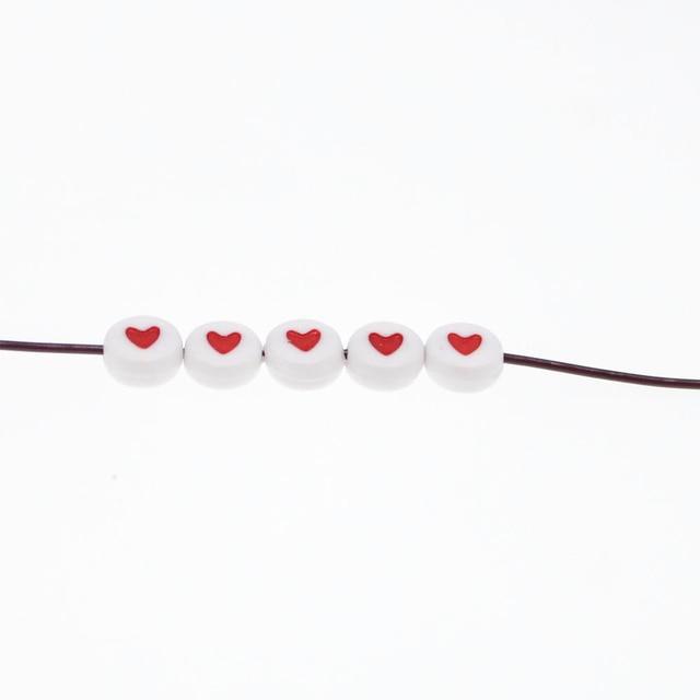 CHONGAI 100Pcs Fashion Jewelry Love Heart Acrylic Flat Round Beads for DIY Craft &Jewelry Making