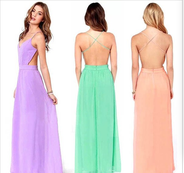 Spaghetti Strap Backless Pleated Maxi Long Party Beach Dress 1