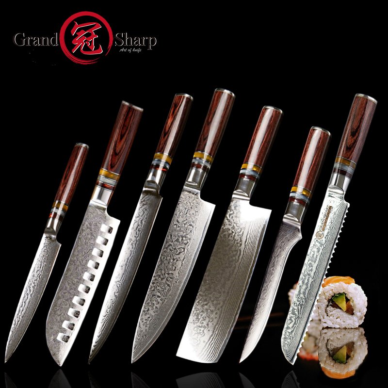 Grandsharp 7 Pcs Kitchen Knife Set vg10 Japanese Damascus Steel Chef Santoku Utility Nakiri Boning Slicing Bread Knives CutleryGrandsharp 7 Pcs Kitchen Knife Set vg10 Japanese Damascus Steel Chef Santoku Utility Nakiri Boning Slicing Bread Knives Cutlery