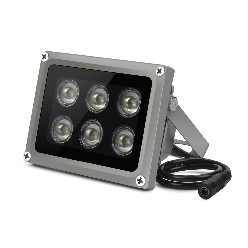 Yiispo array ir iluminador infravermelho lâmpada 6 pces matriz led ir exterior ip65 visão noturna impermeável para câmera de cctv 90-60-45degree