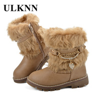 ULKNN Girl Winter Boots Leather Warm Boots Platform Shoes For Kids Children Snow Shoes Plush Warm