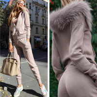 Women's two piece winter knitted suit women's fashion leather fur collar hooded cardigan + trousers knitted 2 sets of women