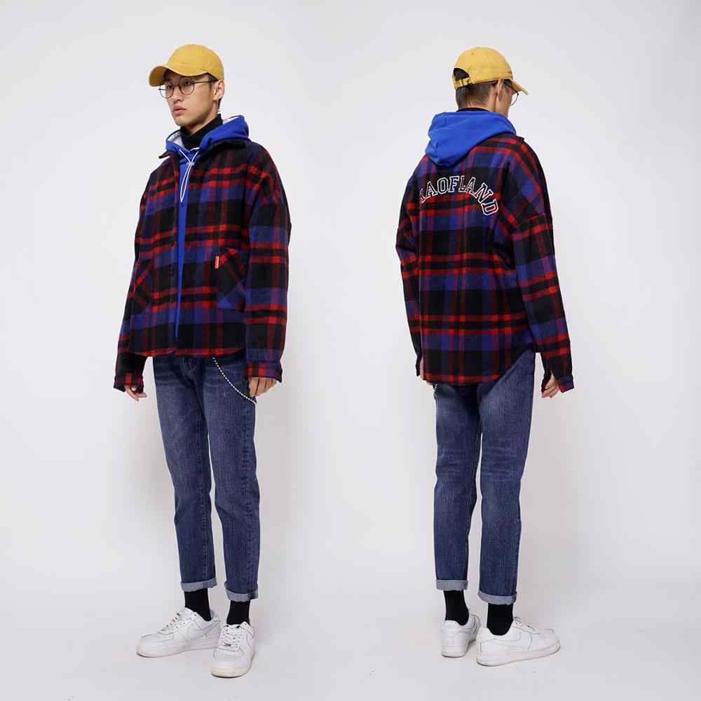 35ed5b209 ... Plaid Flannel Shirt Men Vintage Check Mens Shirts Streetwear Korean  Fashion Style High Street Hip Hop ...