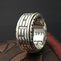925 Sterling Silver Retro Thai Silver The Eight Trigrams Ring Men Fashion Personality Rotate Ring