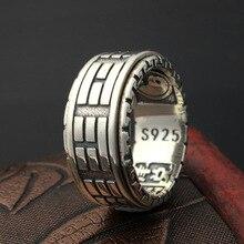 925 prata esterlina retro thai prata os oito trigramas anel masculino personalidade moda girar anel