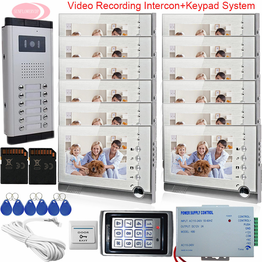 7Inch Home Video Door Phone +SD Card Video Intercom With Recording 12 Monitors Intercome System Keypad Access Control System Kit